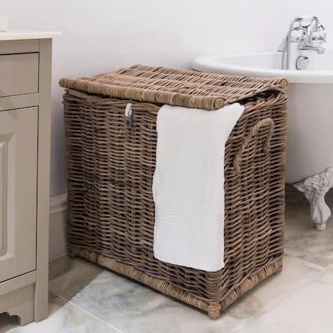Key Largo Kubu Rattan Laundry Separating Basket Hamper