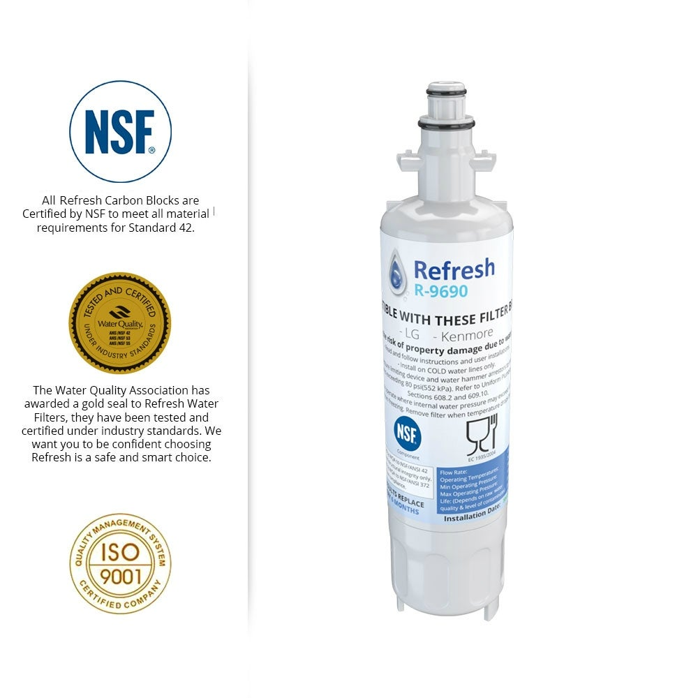 Refresh Replacement Refrigerator Water Filter Compatible with Kenmore 46-9690,..