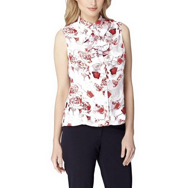 Tahari ASL Petite Rose Print Stand Collar Double Ruffle Blouse Top - pm