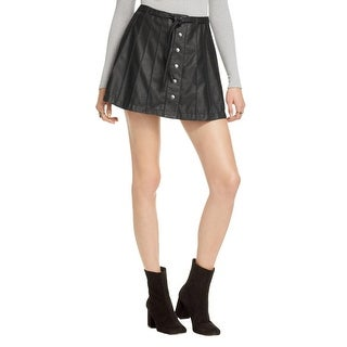 Free People Womens A-Line Skirt Faux Leather Pleated