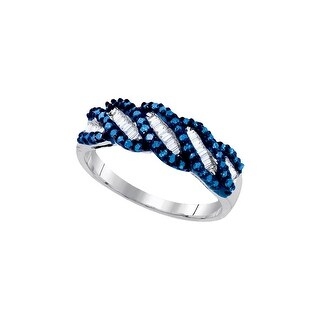 Sterling Silver Womens Round Blue Colored Diamond Crossover Band Fashion Ring 1/2 Cttw - White