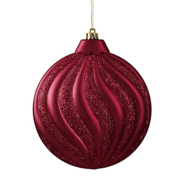 "6ct Matte Burgundy Glitter Swirl Shatterproof Christmas Disc Ornaments 6.25"" - RED"