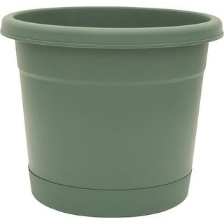 "Ames/True Temper RR2006FE Rolled Rim Planter & Saucer, 20"", Green"