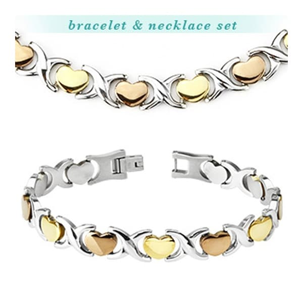Stainless Steel Tri-Tone Hearts Bracelet & Necklace Combo Set (Sold Ind.) (10 mm)