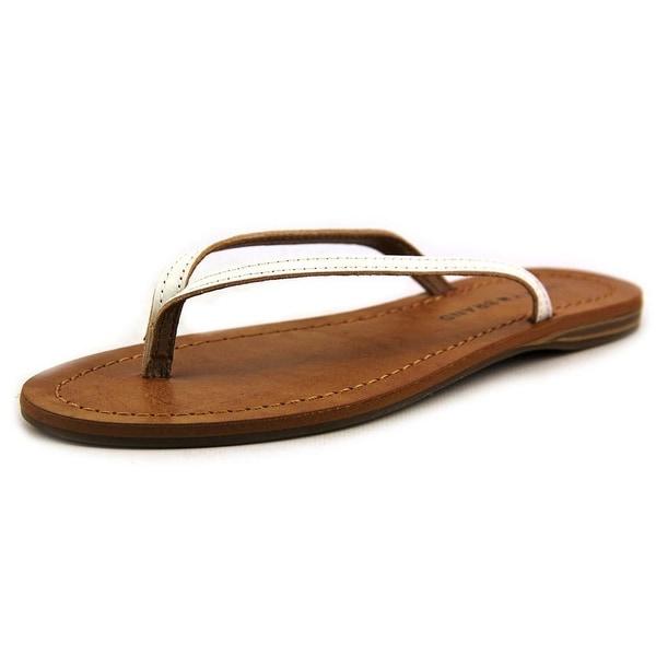 Lucky Brand Amberr Women Open Toe Leather White Thong Sandal