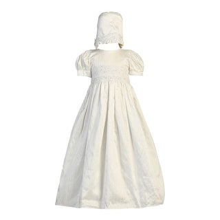 Baby Girls Antique White Lace Bodice Baptism Silk Gown Bonnet Set 0-18M