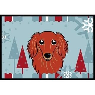 Carolines Treasures BB1710JMAT Winter Holiday Longhair Red Dachshund Indoor & Outdoor Mat 24 x 36 in.