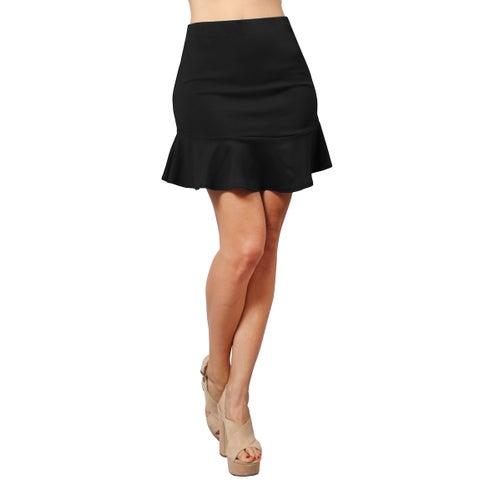 NE PEOPLE Women's Fitted Fishtail Flare Ruffle Party Work Mini Skirt