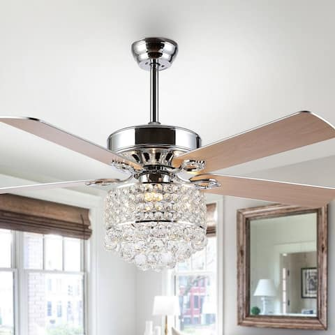 """Safavieh Lighting 52-inch Fint LED Ceiling Light Fan (with Remote) - 52"""" W x 52"""" L x 29.5""""-34.5"""" H"""
