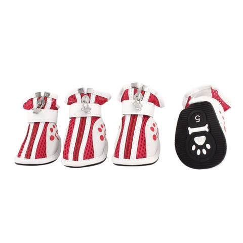 2 Pair Hook Loop Closure Pet Dog Doggie Netty Shoes Boots White Size S - Red White