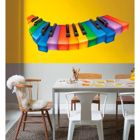 Colored Piano Keys Wall Decal, Colored Piano Keys Wall sticker, Colored Piano Keys wall decor