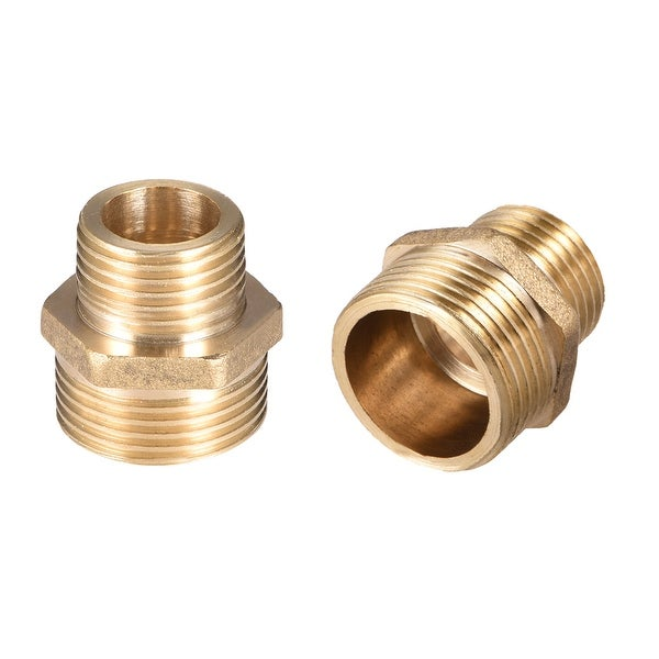 "Brass Pipe Fitting Reducing Hex Nipple 1/2""x 3/4"" G Male Pipe Brass Fitting 2pcs - 1/2"" to 3/4"" G Male 2pcs"