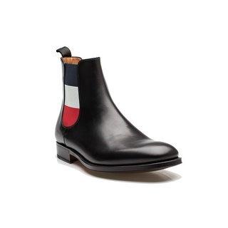 MONCLER Men's Oxford Leather Boot Elastic Fit Black France Flag