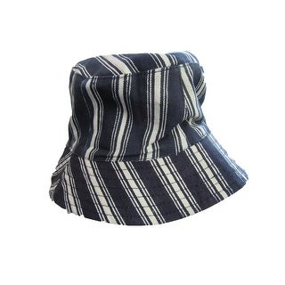 Boys Girls Navy White Stripe Pattern Breathable Cotton Bucket Hat 2-4 Y - 2-4 Years