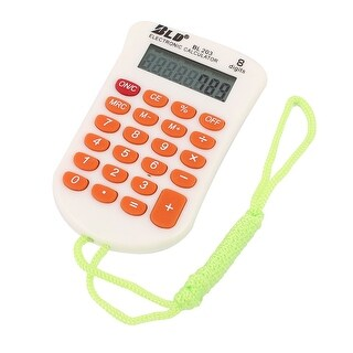 Office Plastic LCD Display 8 Digits Electronic Calculator Orange White w Strap