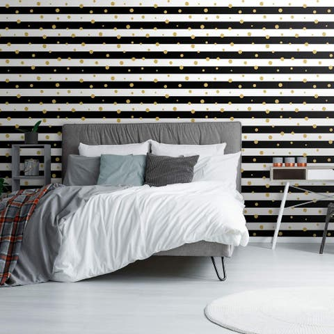 Black and Gold Striped Peel and Stick Removable Wallpaper 3769