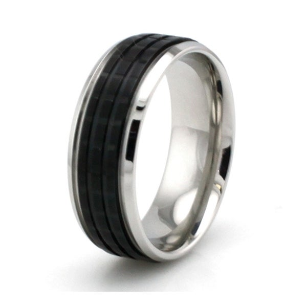 Two-Tone Black Stainless Steel Grooved Ring