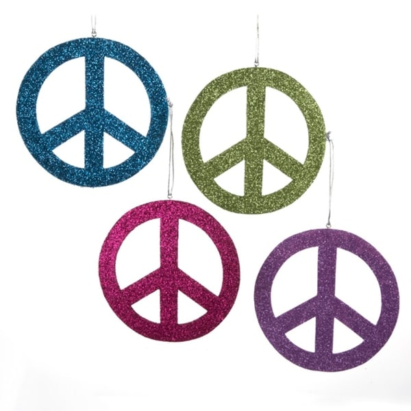 Club Pack Of 24 Glittered Wooden Peace Sign Christmas Ornaments 5