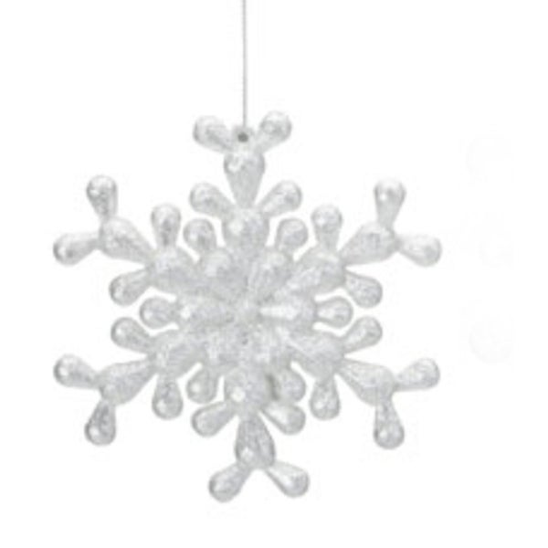 Snowfall Valley Silver Glitter 6-Point Snowflake Christmas Ornament