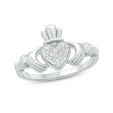 Cali Trove 1/20 CT Round Diamond Claddagh Fashion Ring In Sterling Silver.