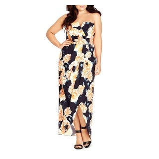 City Chic Womens Casual Dress Floral Print Pleated