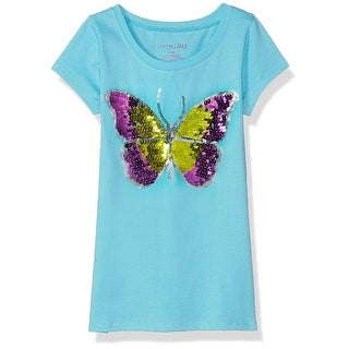 Colette Lilly Girls 4-6x Butterfly Sequin Top - aqua