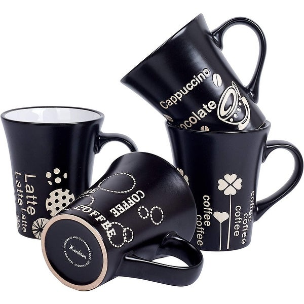 Bruntmor Set Of 4 Matte Black Novelty Coffee-Themed Sayings for Coffee, Tea, Cocoa, Large Porcelain Mugs 14 OZ. Opens flyout.