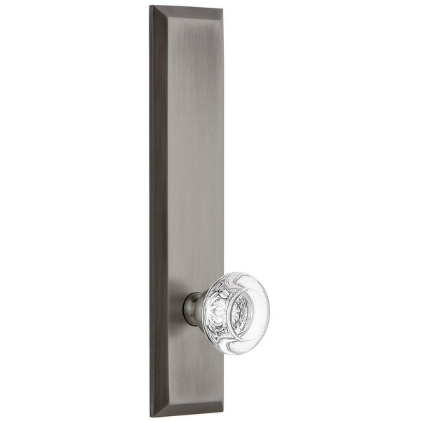 Grandeur FAVBOR_TP_PRV_234_LH Fifth Avenue Solid Brass Rose Left Handed Tall Plate Privacy Door Knob Set with Bordeaux Crystal