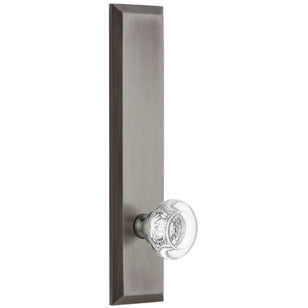 Grandeur FAVBOR_TP_PSG_234 Fifth Avenue Solid Brass Rose Tall Plate Passage Door Knob Set with Bordeaux Crystal Knob and 2-3/4""