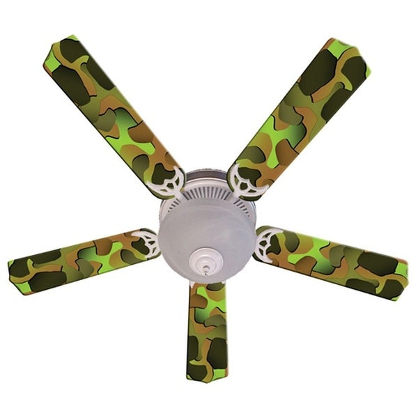 Green Camouflage Print Blades 52in Ceiling Fan Light Kit - Multi