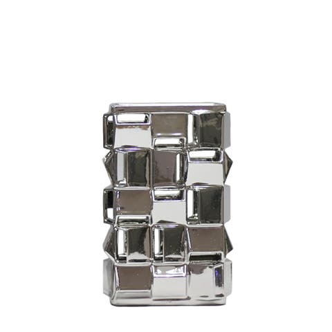 Geometric Vase with Abstract Cutout Cubes in Ceramic, Silver