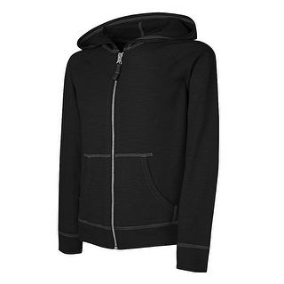 Hanes Girls' Slub Jersey Full-Zip Hoodie - Size - L - Color - Black