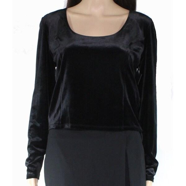 Free Press Womens Knit Top Black Size XL Seamed Velvet Scoop Neck