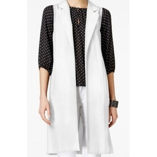 Vince Camuto NEW White Ivory Women Medium M Open Front Vest Jacket