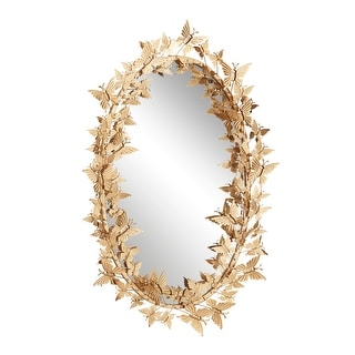"Link to 25"" x 41"" Large Oval Metallic Gold Butterfly Hanging Wall Mirror - 19 x 5 x 33 Similar Items in Decorative Accessories"