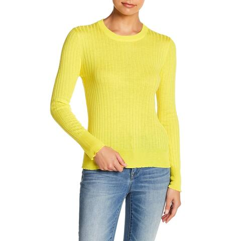 Elodie Yellow Womens Size Large L Rib-Knit Pullover Crewneck Sweater