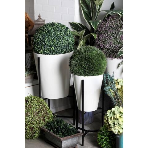White Tin Modern Planter (Set of 3)