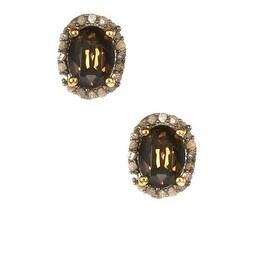 Pave Diamond Smoky Earrings, Smoky Studs