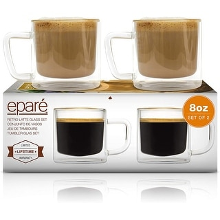 Link to Epare Retro Latte Glasses 8oz Clear Glass Double Wall Cups Set of 2 Similar Items in Dinnerware