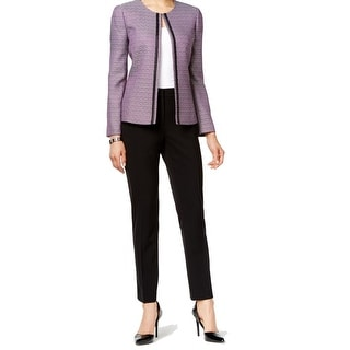 Tahari By ASL NEW Purple Women's Size 8 Textured Knit Pant Suit