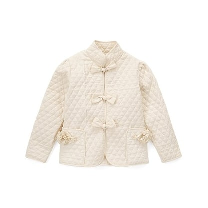 Girls Ivory Quilted Texture Bow Buttons Flower Pockets Jacket