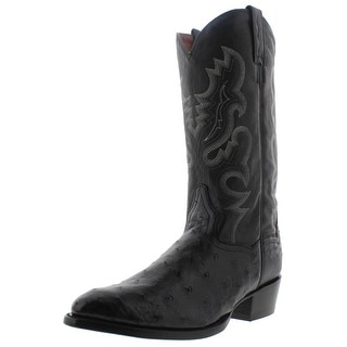 Dan Post Mens Tempe Ostrich Leather Embroidered Cowboy, Western Boots