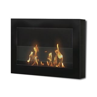 SoHo (Black) Wall Mount Bio Ethanol Ventless Fireplace