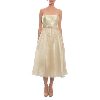 Aidan Mattox Lovely Cream A-Line Tea Length Sequin Evening Cocktail Dress - 6