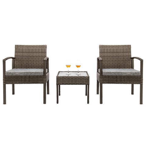 3 Piece Patio Furniture Set Wicker Rattan Chair Outdoor Patio Conversation Set 2 Cushioned & End Table