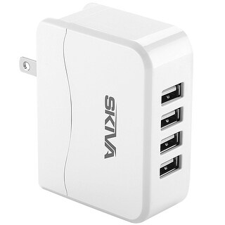 Skiva PowerFlow QuadFire (4-Port USB / 4.9 Amps / 24.5 Watt) Rapid USB Wall/AC Charger for iPhone X 8 8Plus 7 7+ 6s 6 Plus SE 5s