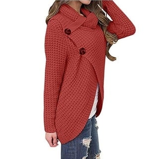 Link to Cowl Neck Chunky Cable Knit Wrap Pullover Sweater Similar Items in Women's Sweaters