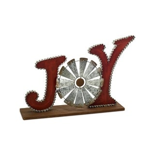"""Set of 2 Red and Grey Windmill Themed Rustic Finish """"Joy"""" Carved Tabletop 20"""""""