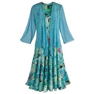 Women's Sleeveless Summer Dress with Coordinating Bolero - Blue
