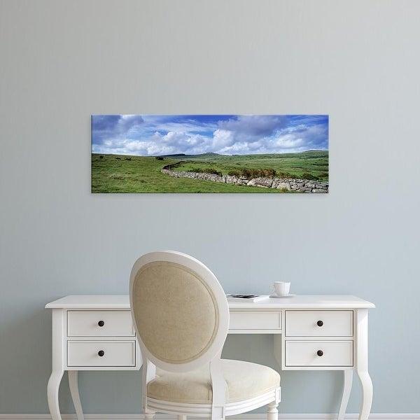 Easy Art Prints Panoramic Images's 'Drystone wall at Bellever Tor, Dartmoor, Devon, England' Premium Canvas Art